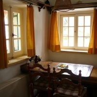 yellow dining area